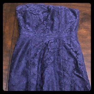 Stunning blue lace strapless short dress